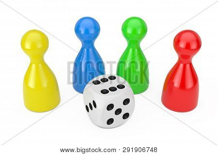 Set Of Multicolour Board Game Pawn Figures Mockup With White Game Dice Cube On A White Background. 3