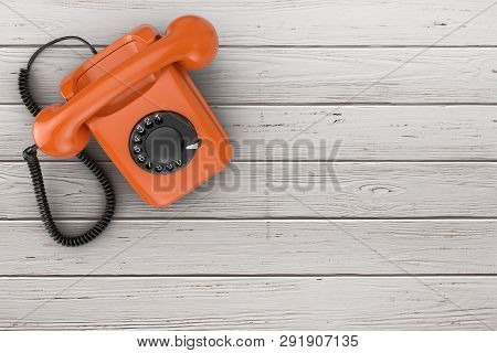 Top View Of Orange Vintage Styled Rotary Phone On A Plank Wooden Table Background 3d Rendering