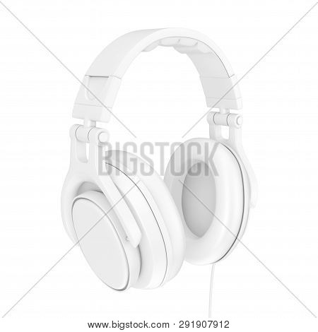 Modern Fun Teenager White Headphones In Clay Style On A White Background. 3d Rendering