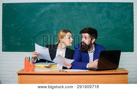 School Educator With Laptop And Principal With Documents. Educational Program. School Education. Pre