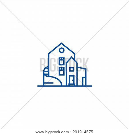 Luxury House, Detached Mansion Line Icon Concept. Luxury House, Detached Mansion Flat  Vector Symbol