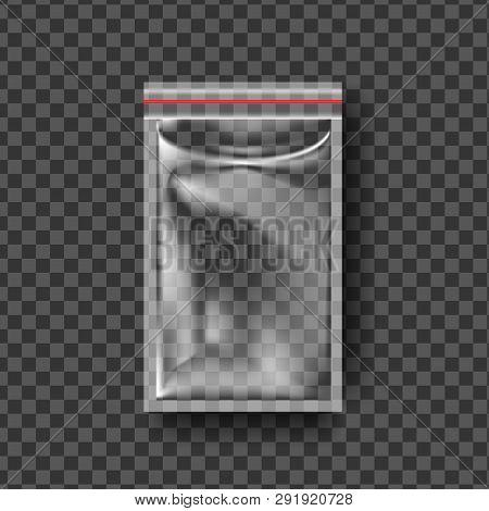Plastic Zipper Vector. Transparent Zip Wrap. Empty Product Polyethylene Mock Up Template. Nylon Doy