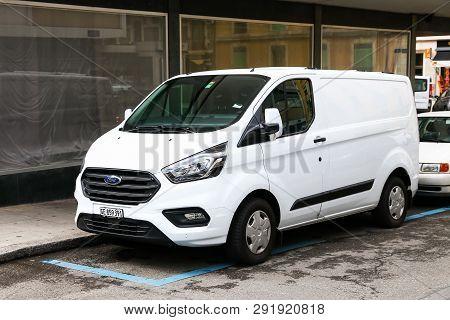 Geneva, Switzerland - March 13, 2019: Cargo Van Ford Transit In The City Street.