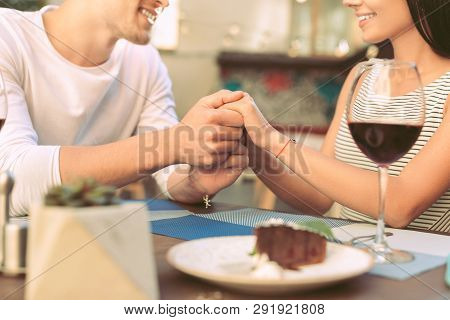 Lovely Sentimental Man Gently Holding Hands Of His Girlfriend