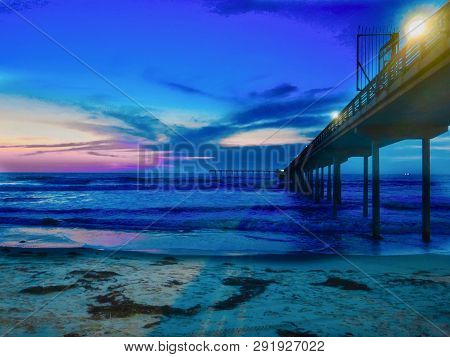 Sunset At Beach Near Oceanside Pier, Near San Diego, California