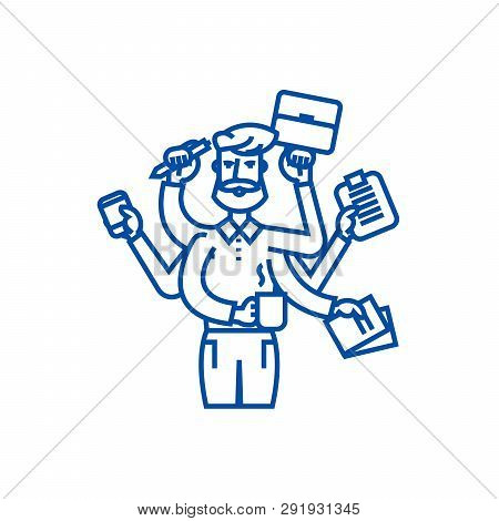 Multitasking Businessman With Case,  Line Icon Concept. Multitasking Businessman With Case,  Flat  V