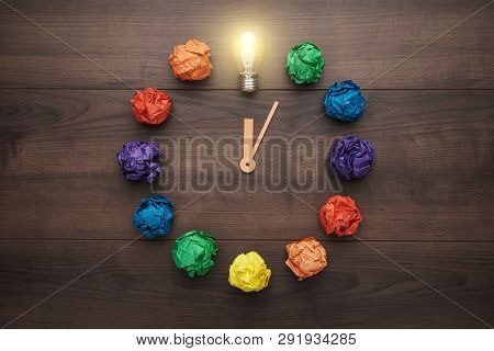 Flat Lay Composition With Artistic Inspiration Concept. Inspiration Concept On Wooden Background. To
