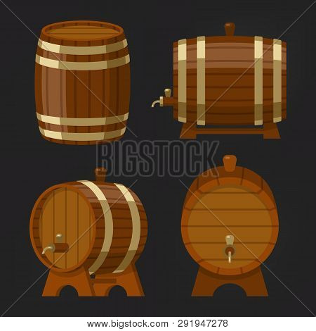 Set Of Old Wooden Wine Barrel Or Beer Oak Keg. Container With Alcohol Drink Or Booze. Storage For Wh