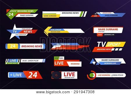 Set Of Isolated News Logo Or Live Hd Tv Broadcast, Web Stream Or Channel Icon Design, Television Sho