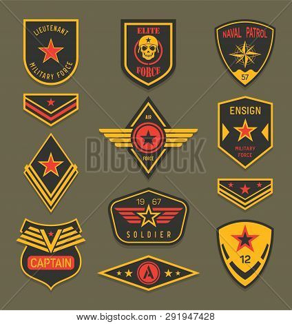 Set Of Isolated Navy Clothing Badges Or Army Apparel Signs, Naval Insignia With Ribbon And Star, Mil