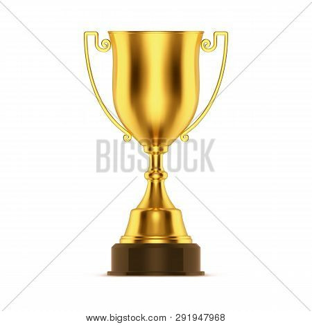 Winner Golden Cup Or Gold Trophy. Competition 3d Goblet Or Metal Award, Champion Prize Or First Game