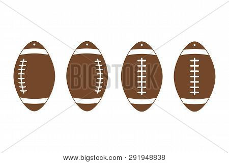 American Football Earrings. Rugby. Sport Ball Leather Earring Templates. Vector