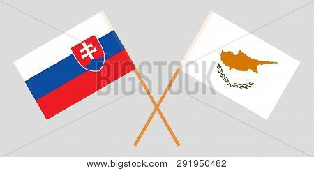 Slovakia And Cyprus. The Slovakian And Cyprian Flags. Official Colors. Correct Proportion. Vector Il