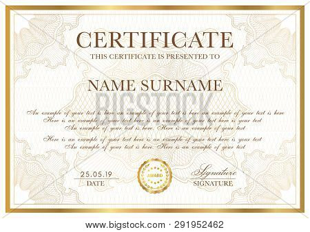 Certificate Template. Gold Border With Guilloche Pattern For Diploma, Deed, Certificate Of Appreciat