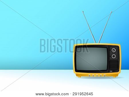 Old, Vintage, Retro, Small, Yellow Portable Plastic Television Isolated The Blue Wall. Realistic Vec