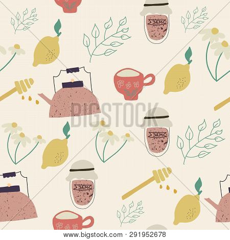 Tea Time Vintage Semless Pattern. Vector Illustration.