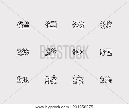 Anatomy icons set. Dermatology and anatomy icons with hematology, dentistry and men health. Set of man for web app logo UI design. poster