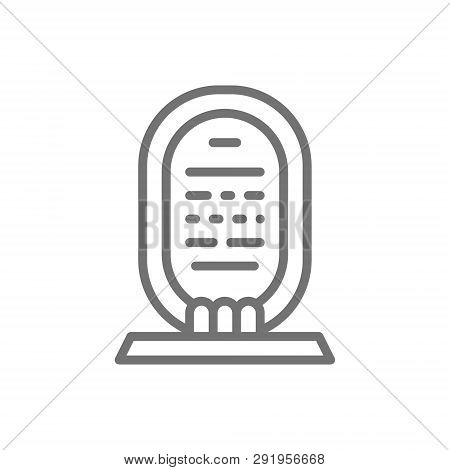 Egyptian Cartouche, Sarcophagus Line Icon. Isolated On White Background
