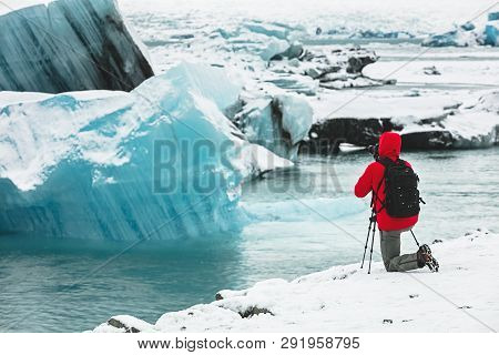 A Nature Landscape Photographer Taking Picture / Photos During A Cold Winters Day With A Digital Slr
