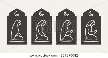 Traditionally Clothed Muslim Arab Man And Woman Making A Supplication (salah) On The Background Of T