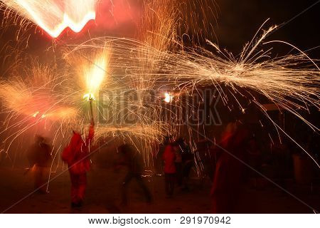 Correfocs,  May Major Party, Alcoletge, Lleida, Spain