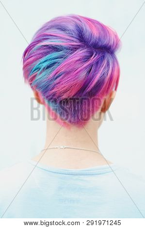 Colored Female Hair, Short Hairy Pixie Bob, Color Dyeing.