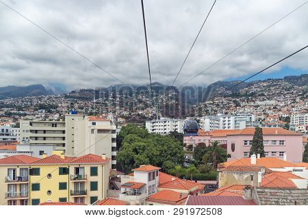 Funchal, Portugal - 17 September, 2018: View At The Houses Of Funchal City From A Cable Car Of Telef