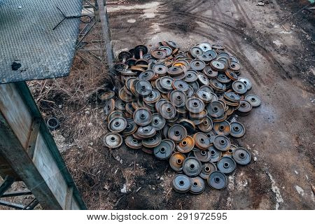 Old Rusty Disused Train Wheels, Top View