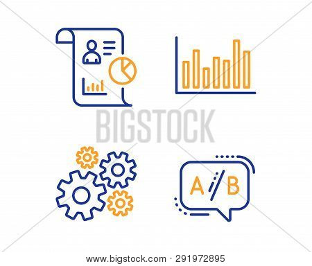 Bar Diagram, Report And Cogwheel Icons Simple Set. Ab Testing Sign. Statistics Infochart, Work Stati