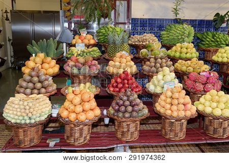 Exotic Tropical Fruits For Sale In A Market In Funchal, Portuguese Island Of Madeira