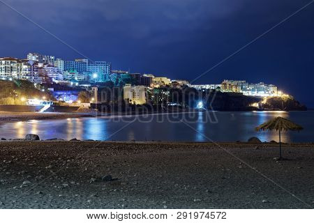 Panoramic View At A Stone Beach Praia Formosa At Night. Funchal, Portuguese Island Of Madeira