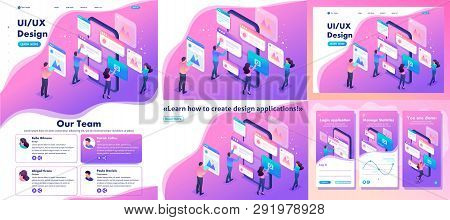 Set Template Article, Landing Page, App Design, Isometric Bright Concept The Process Of Creating An