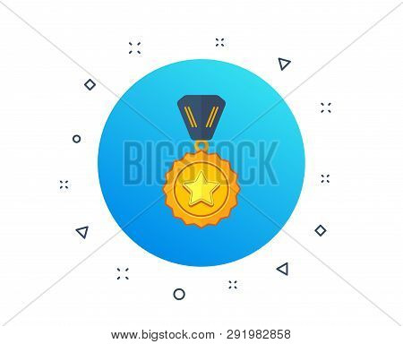 Winner Medal Icon. Golden Prize Sign. Success Award Symbol. First Place Winner. Best Medal, Sport Tr