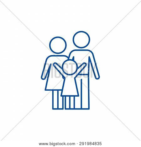 Happy Family Line Icon Concept. Happy Family Flat  Vector Symbol, Sign, Outline Illustration.
