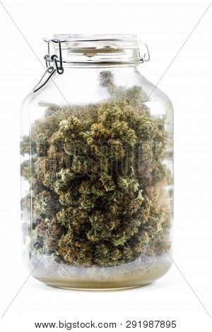 Glass Jar Full Of Cannabis