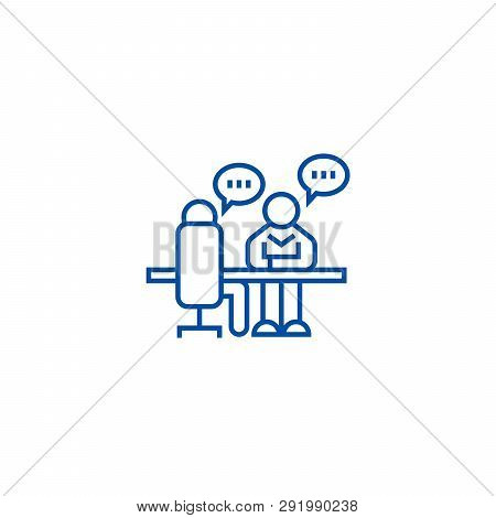Interview, Office Discussion Line Icon Concept. Interview, Office Discussion Flat  Vector Symbol, Si