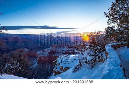 A Panorama Of The Grand Canyon In Winter With Snow In The Higher Elevations.  This Is An Epic Image