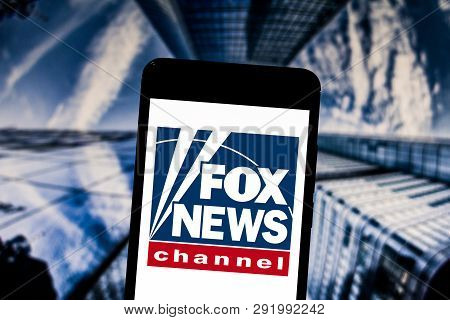 March 27, 2019, Brazil. Fox News Channel Logo On Mobile Device. Fox News Is A Basic News Channel For