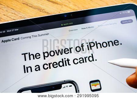 Paris, France - Mar 27, 2019: Man Pov At Ipad Pro Tablet Reading On Apple.com Website About New Appl