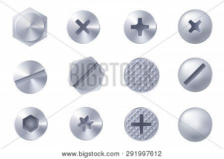 Set Of Metal Screw Heads Isolated On White Background. Collection Of Different Heads Of Bolts, Screw