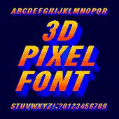 3d pixel alphabet font. Digital gradient letters and numbers. 80s arcade video game typescript. poster