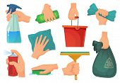 Cleaning products in hands. Hand hold detergent, housework supplies and cleanup rag cartoon vector illustration set poster