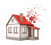 3d rendering of one-storeyed detached house with chimney starting to dissolve into pieces from one side of its red roof isolated on white background. poster