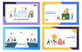 Keep Calm and Save Money Landing Page Set. Smart Choice in Business Rivalry, Earning and Keeping Capital for Company. Secure Cash Website or Web Page. Flat Cartoon Vector Illustration poster