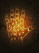 The Art of Black Magic: Chiromancy & Palmistry. Mystical chart with Ancient hieroglyphs, Medieval runes, Astrological signs and Alchemical symbols (lines, paths, ways, mounts and valleys of the palm). (Alternate grunge vintage remake). poster