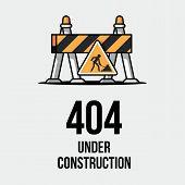 Website under construction. Internet 404 error page not found. Webpage maintenance, error 404, page not found message, technical problem. Design under construction. poster