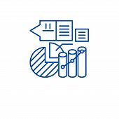 Marketing stats line icon concept. Marketing stats flat  vector symbol, sign, outline illustration. poster