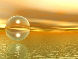 Transparent ball over the sea at sunset - 3D rendering.
