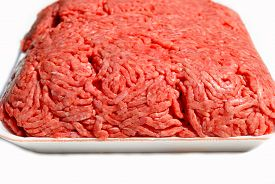 Packaged Raw Ground Beef Isolated Over A White Background