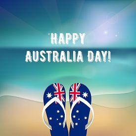 Happy Australia Day - 26 January. National Australia Holiday, Festival. Independence Day. Poster Wit